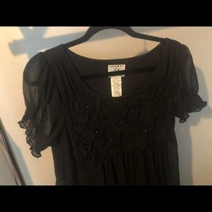 Black Sheer Empire Dress